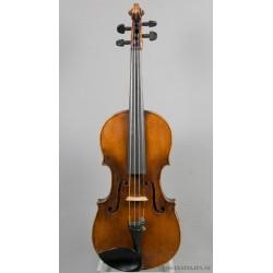 Violin med reparationsetikett från 1858