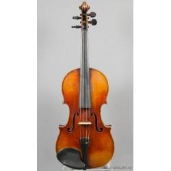 Violin med handskriven etikett: Fait par Jules Grandjon, eleve de bernadel